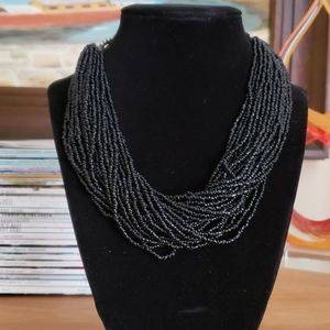 Necklace Black Seed Bead & Silver